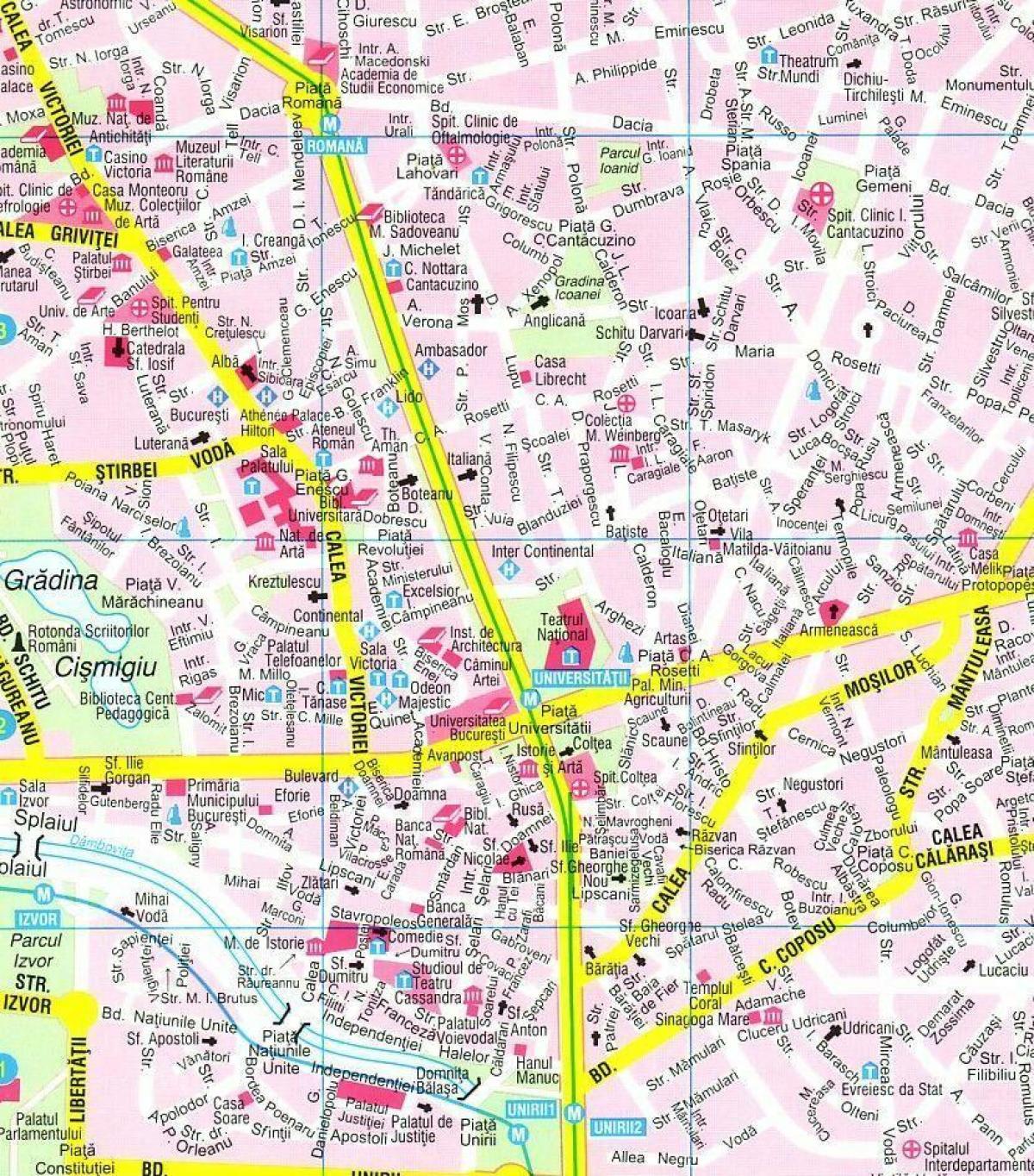 Bucharest Center Map Map Of Bucharest City Centre Romania